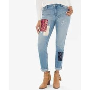 Chico's Girlfriend Slim Leg Ankle Jeans Patchwork